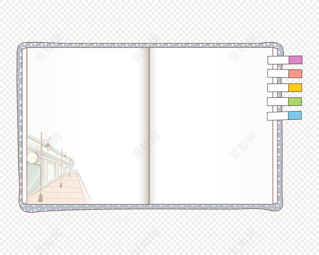 手绘卡通书本花边边框素材