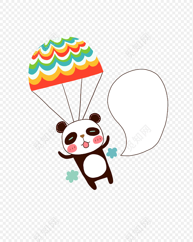 手绘卡通熊猫花边边框素材