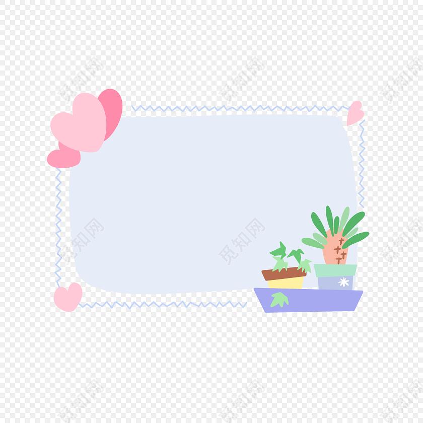 手绘卡通植物花边边框素材