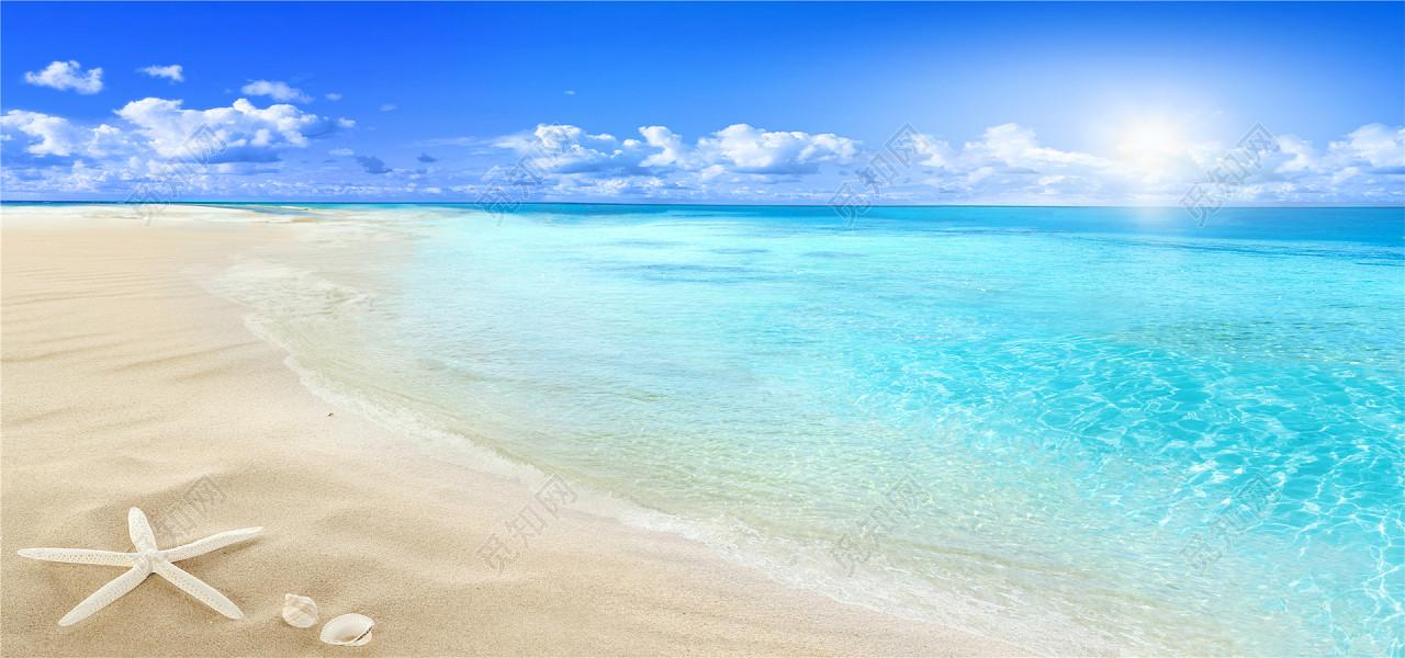 背景素材 沙滩 夏天风景海报 贝壳 海洋风光