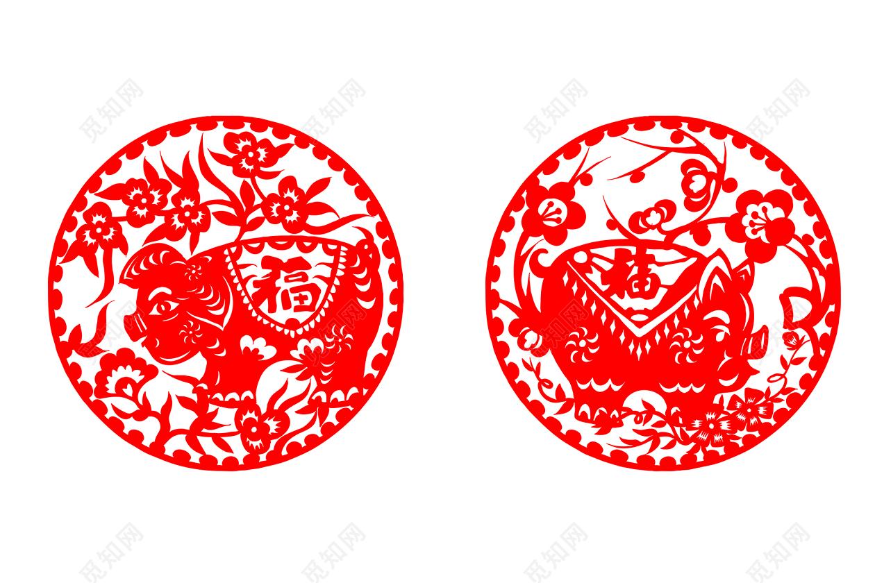 猪年新春剪纸风素材