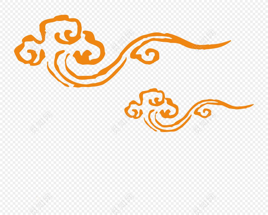 云纹图腾标签:png素材 免抠素材 金色祥云 传统图案 古典花纹