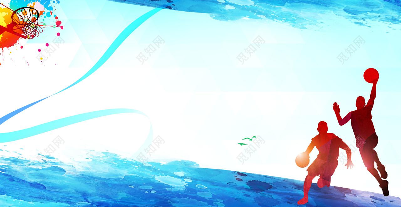 蓝色剪影篮球运动争霸赛海报宣传背景素材