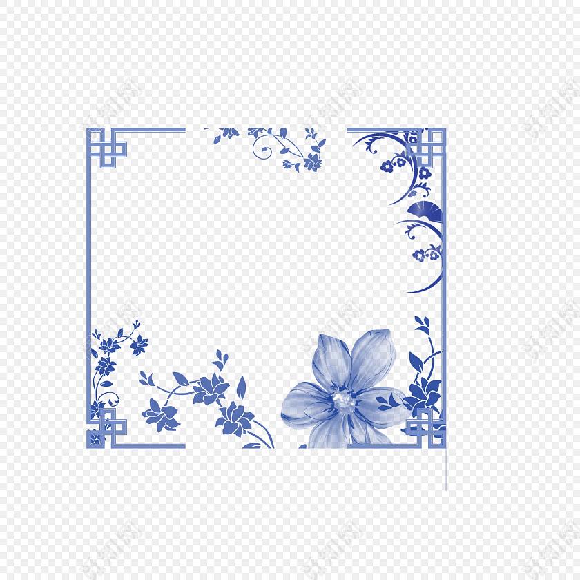 唯美中国风边框青花瓷底纹花边图片素材免费下载_觅