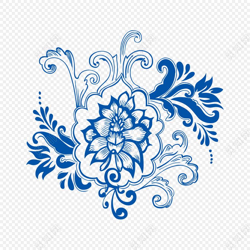 矢量青花瓷花纹