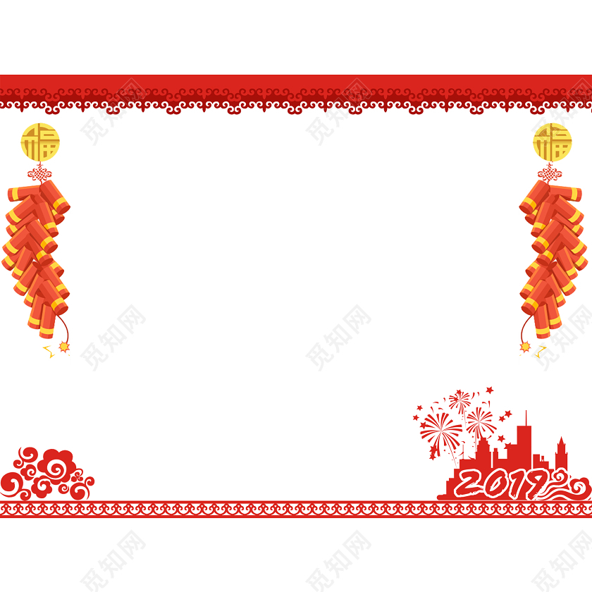 新年边框红色剪纸风格边框素材