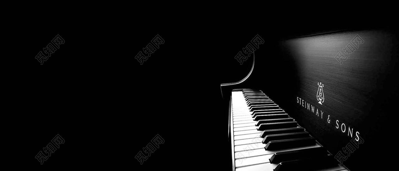 唯美意境黑白钢琴背景