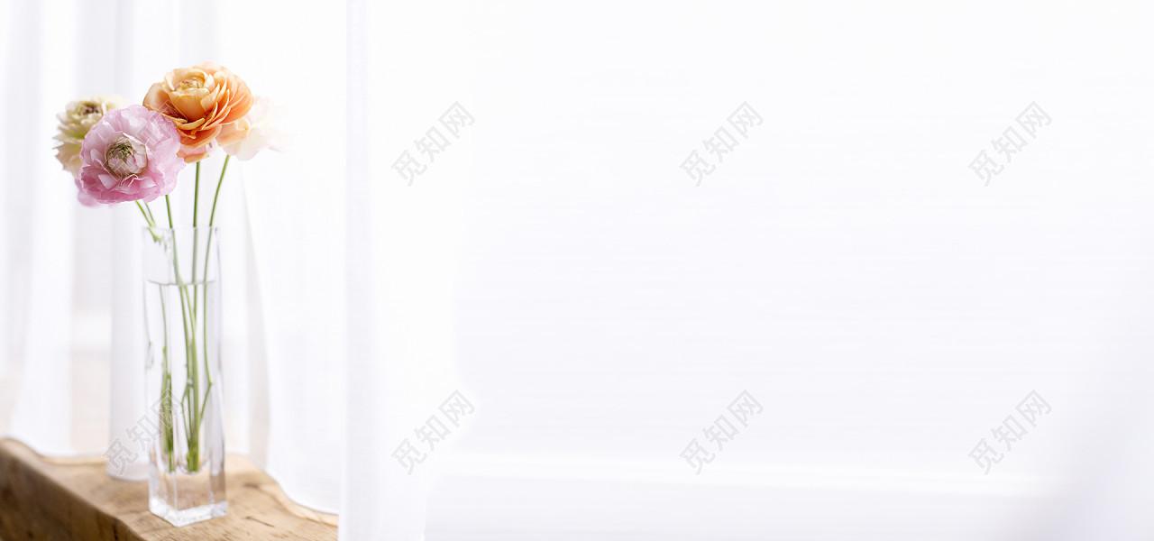 背景素材日系清新文艺阳光家居女装窗台墙壁淘宝背景标签:背景素材 花