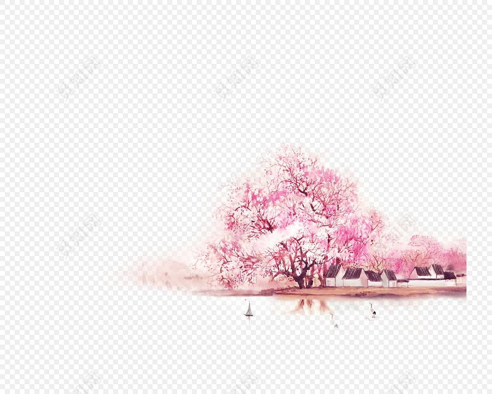 免费下载png png素材唯美古风手绘插画标签:png素材 免抠素材 樱花树