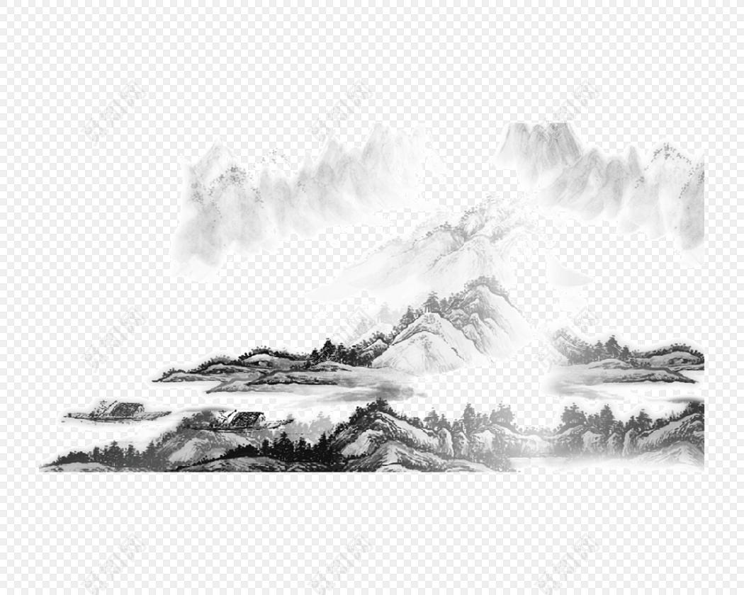 美丽的风景画免费下载_png素材_觅知网