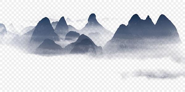 中國風水墨墨跡中式古風水墨山水背景免扣素材