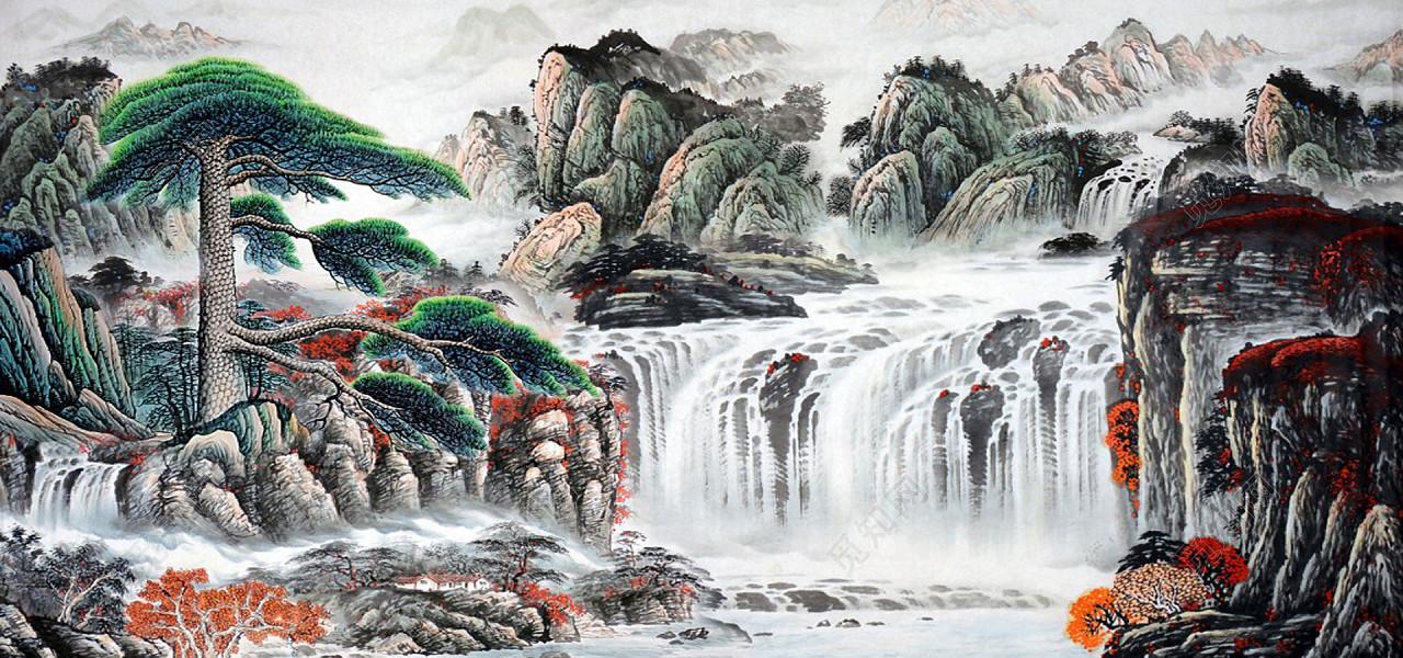 中国风山水水墨画风景