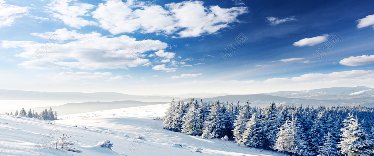 冬季雪地唯美风景海报背景图