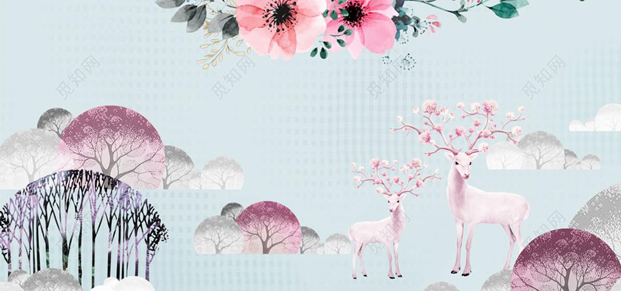 欧式手绘水彩花卉鹿树林背景墙壁画