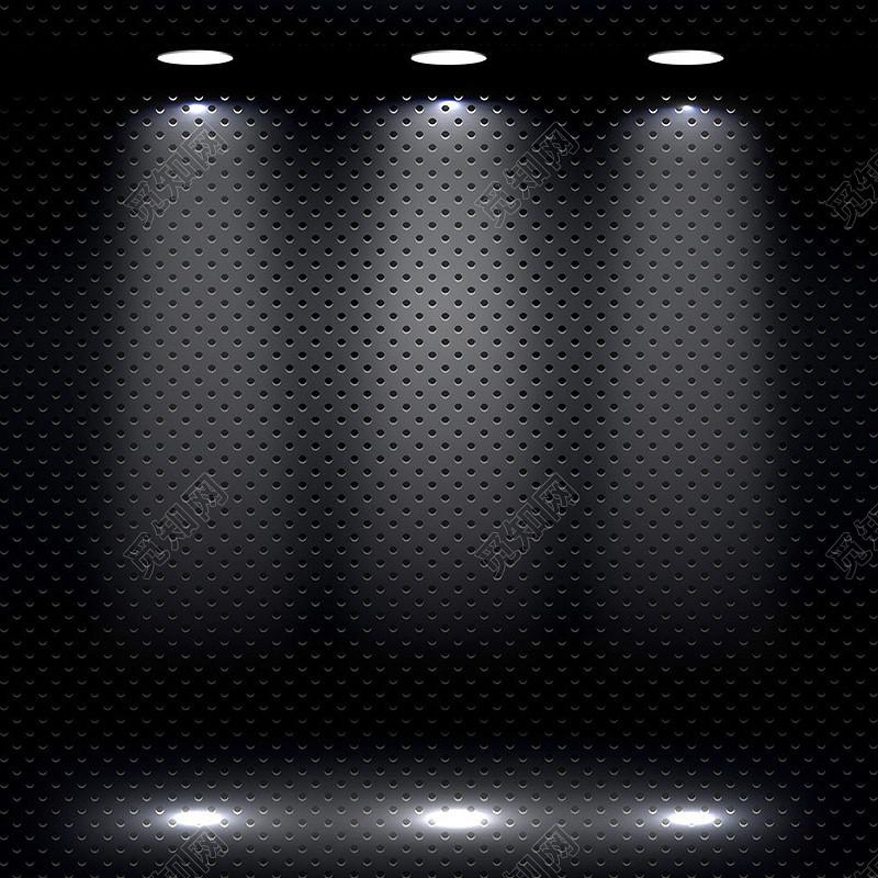 黑色金属质感舞台灯光背景