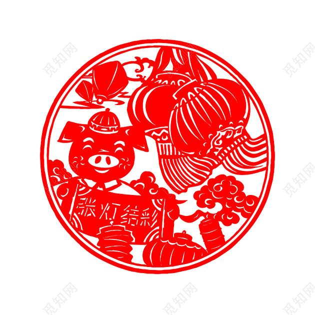 春节猪年剪纸素材