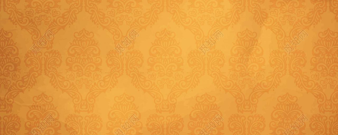 黄色渐变复古花纹背景