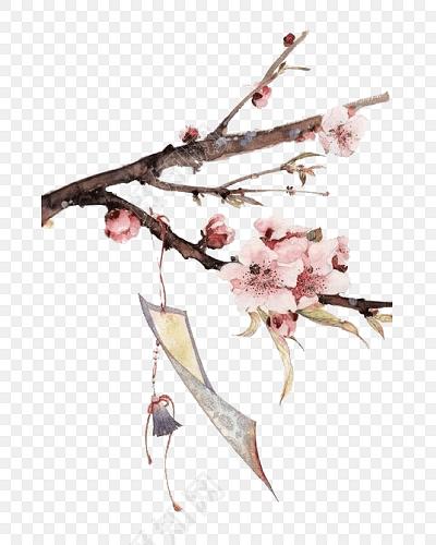 卡通古典素材 卡通手绘桃花