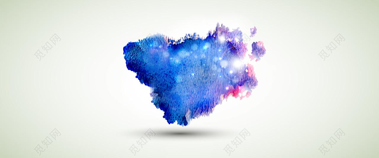 蓝色泼墨水彩背景免费下载_背景素材_觅知网