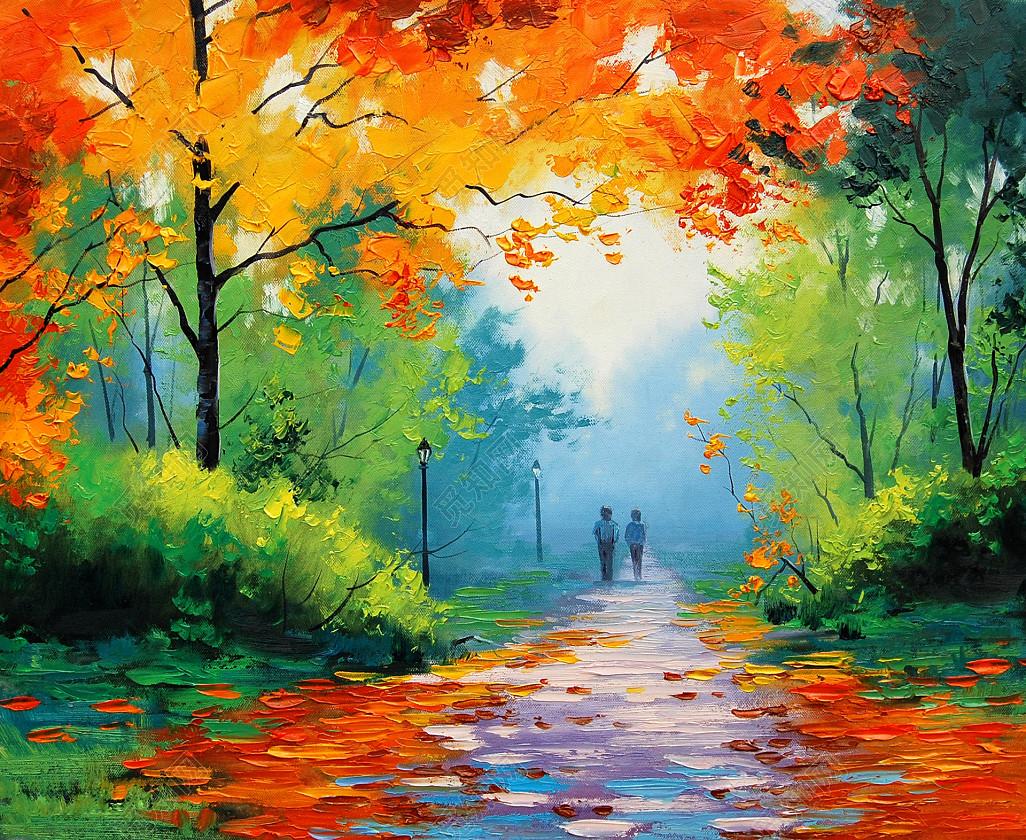 风景画 挂画 河岸 河流 河畔 绘画