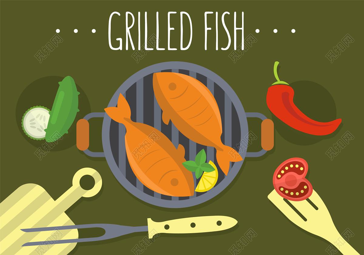 可爱儿童画风格烤鱼海报手绘背景素材