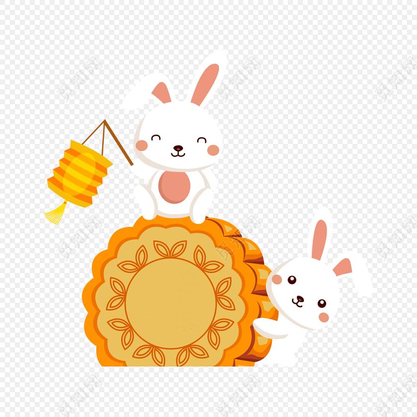 提灯笼的卡通兔子中秋节月饼素材