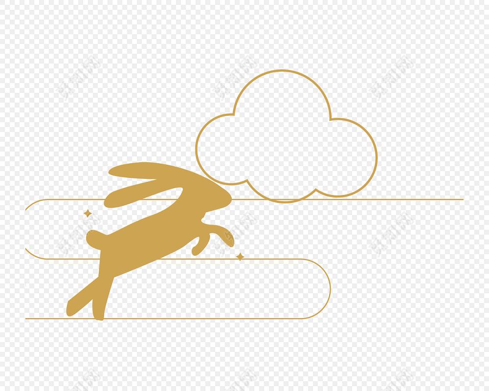 手绘兔子中秋节素材