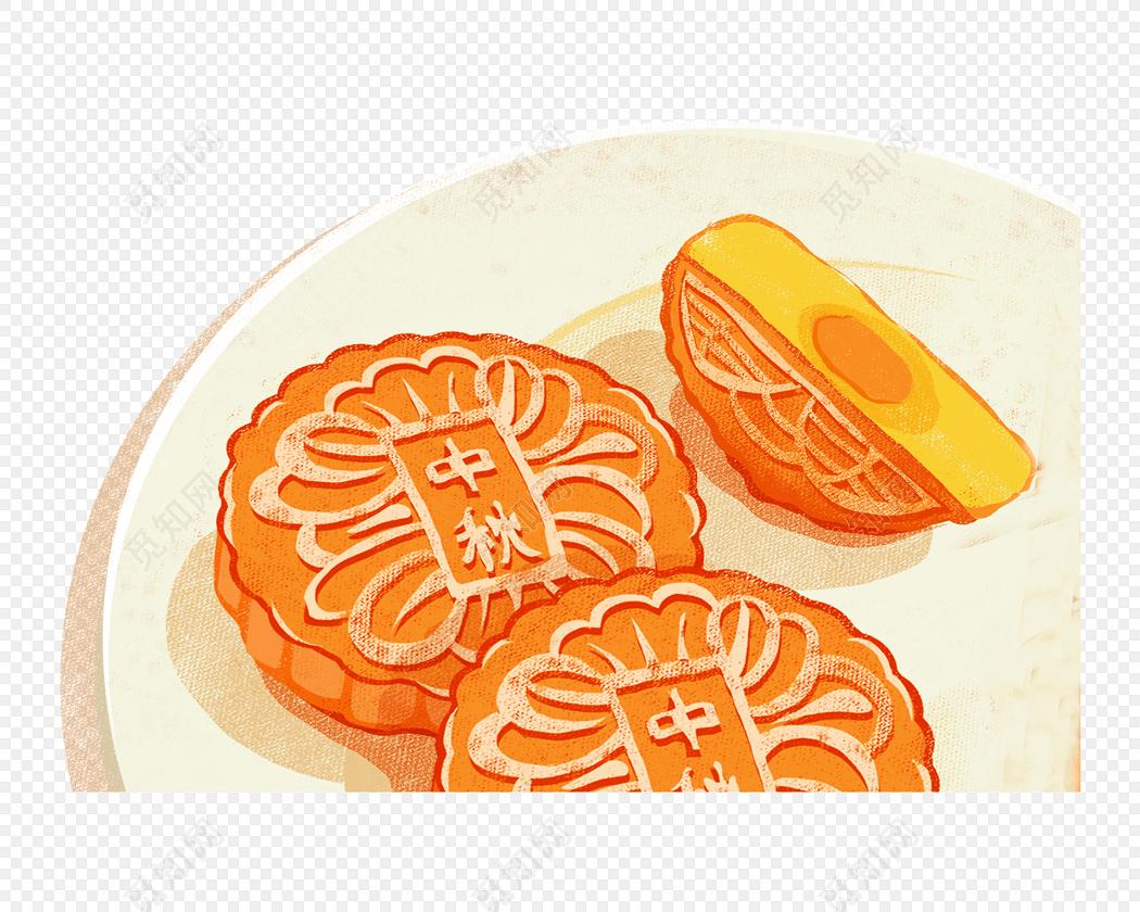 手绘月饼中秋节素材