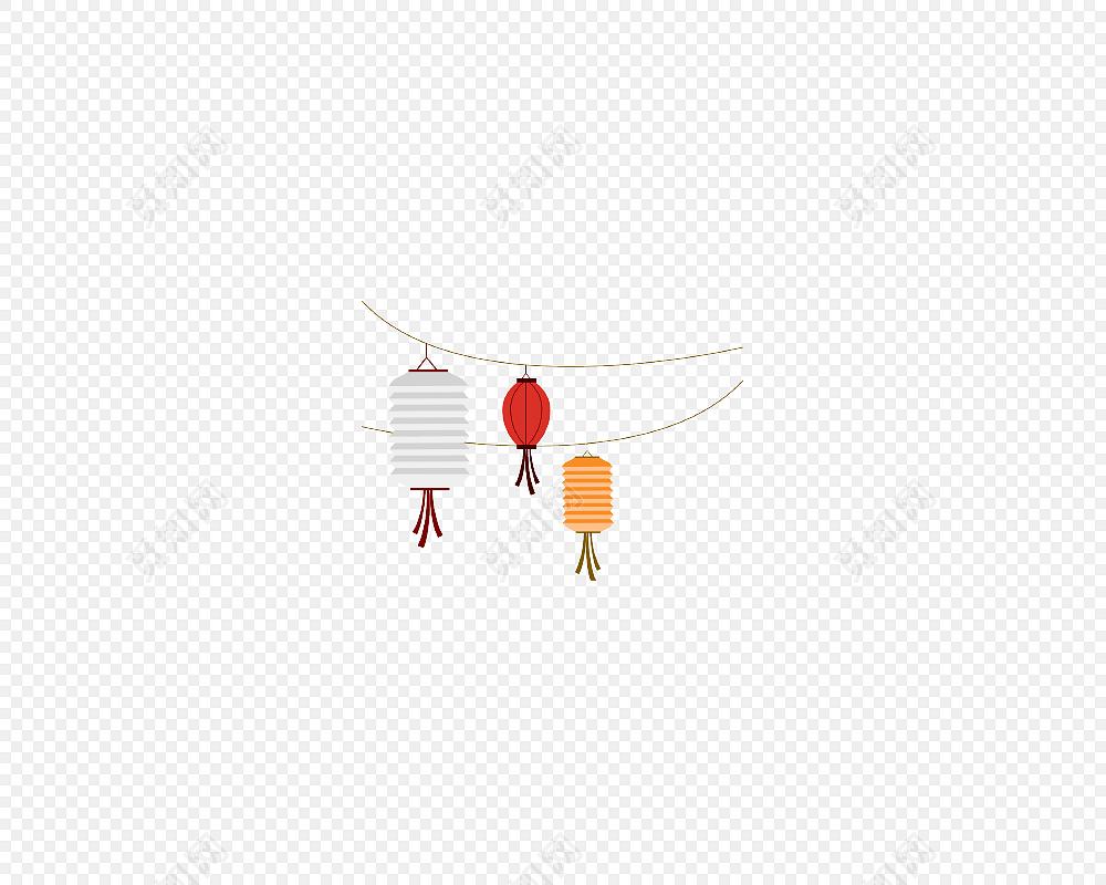 卡通灯笼手绘中秋节素材