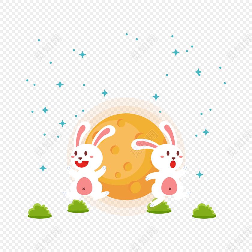 手绘卡通中秋节兔子月饼素材