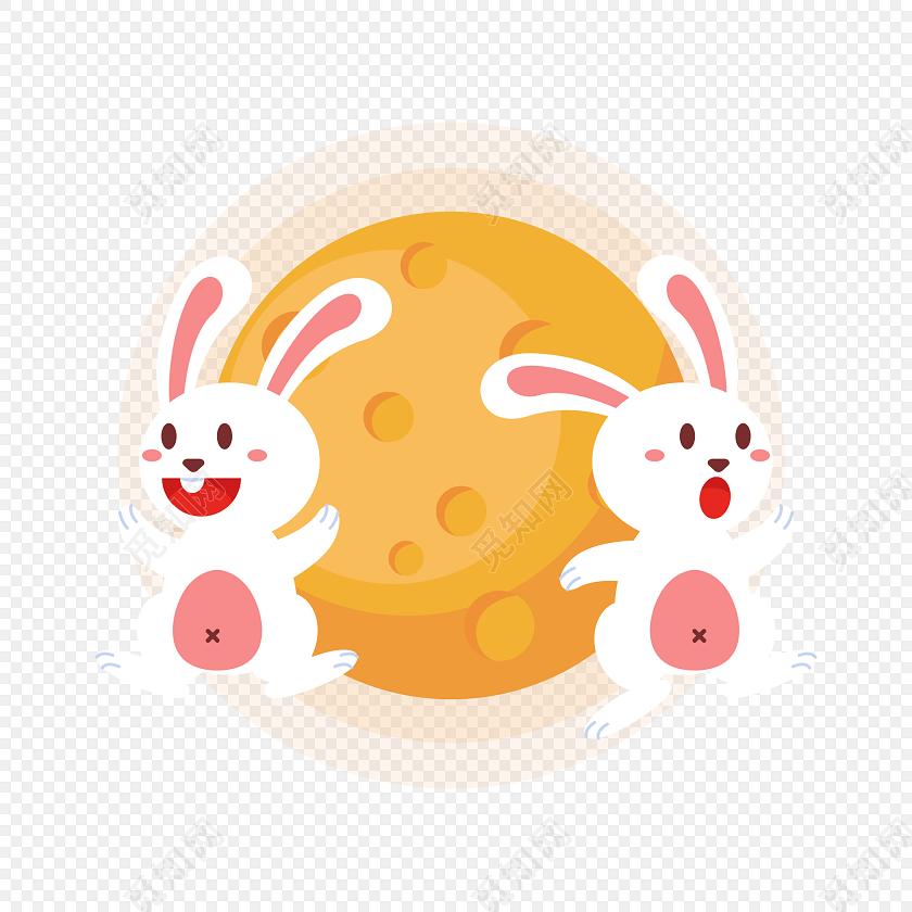 卡通兔子中秋节素材