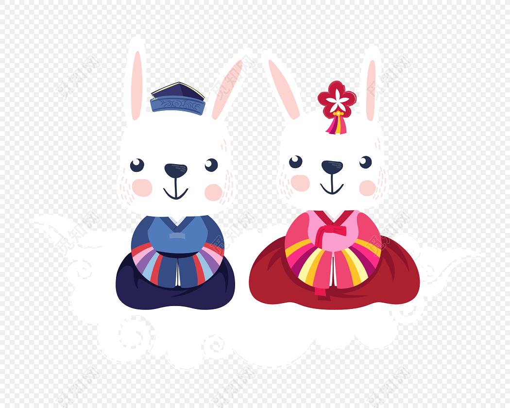 可爱卡通兔子中秋节素材