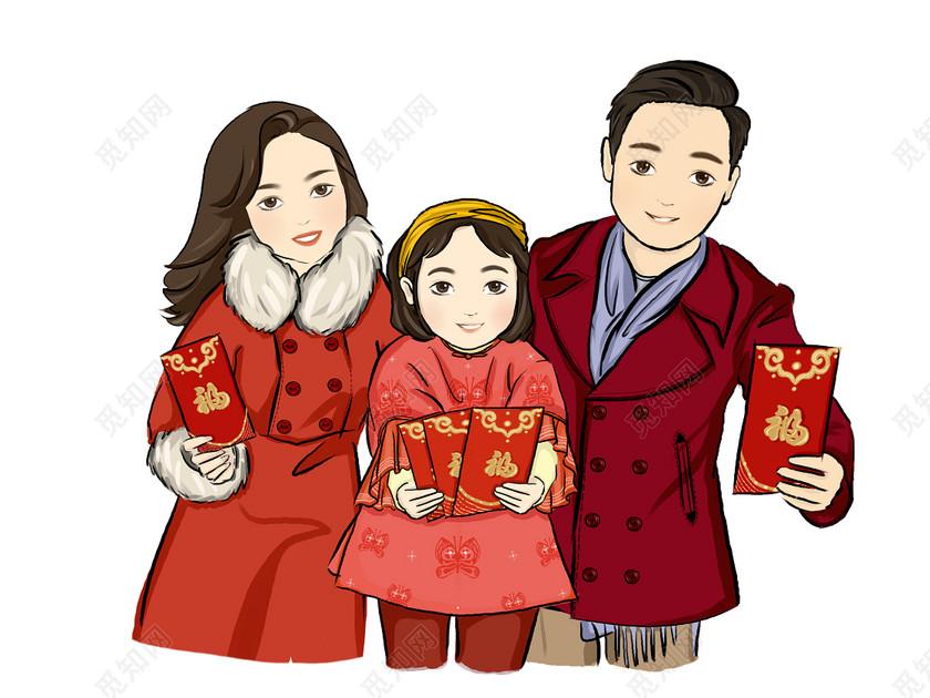 春節習俗新年全家拜年發紅包素材