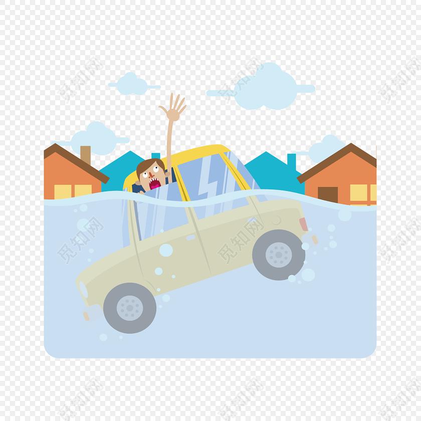 洪水淹没城镇呼救人物素材