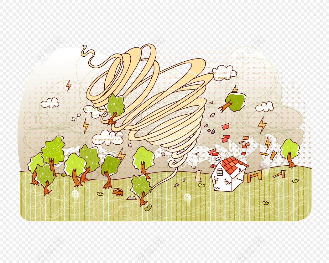 卡通台风龙卷风自然灾害素材下载