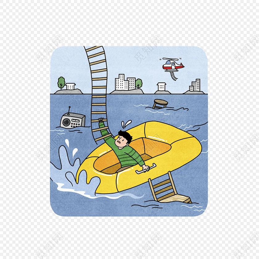 卡通洪水淹没城市救援场景素材