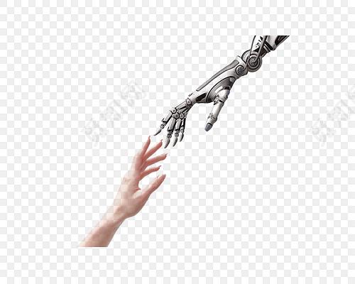 简约高清手掌手指手臂牵手机器人素材