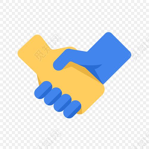 卡通蓝色黄色合作牵手图片素材免费下载_觅知网