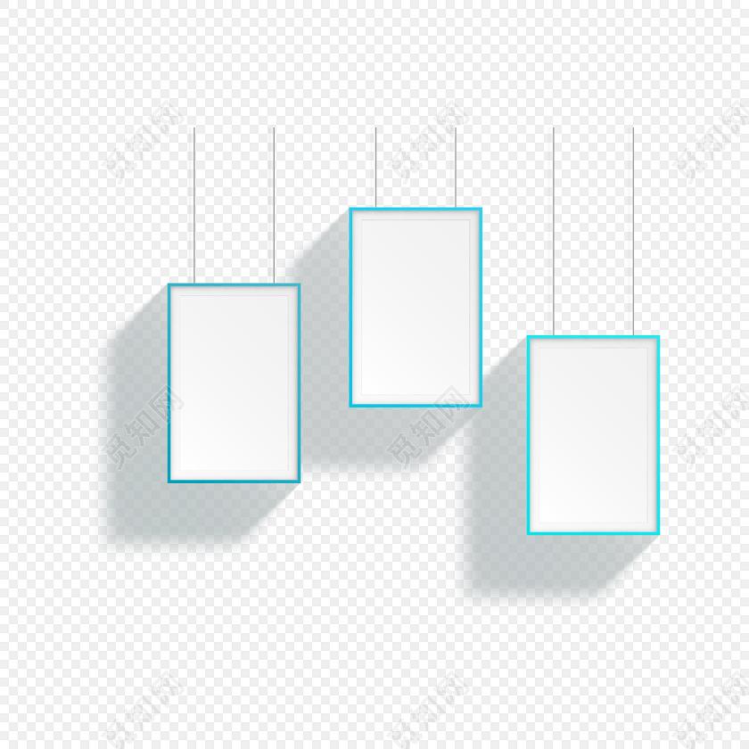 蓝色小清新简约边框相框素材