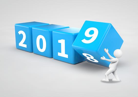 立體藍色調跨年2019數字ppt素材