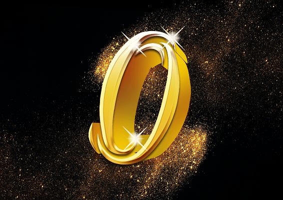 金屬質感金粉效果數字0字體設計