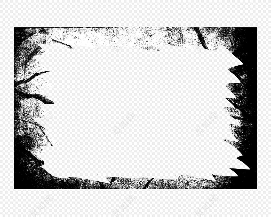 黑色水墨大气潇洒纹理边框素材