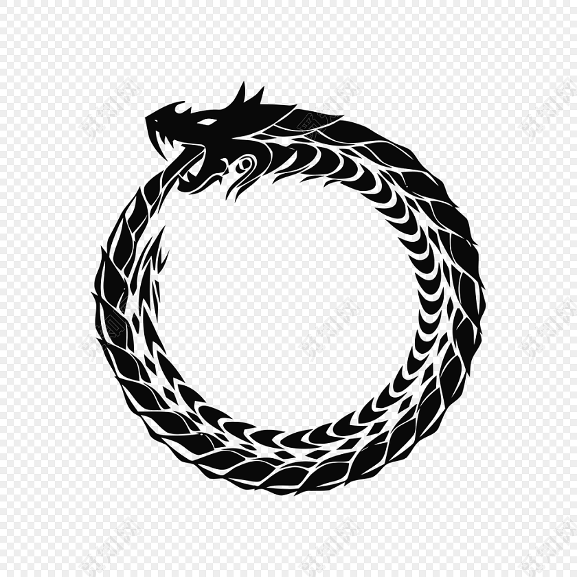 黑色龙图腾圆形素材
