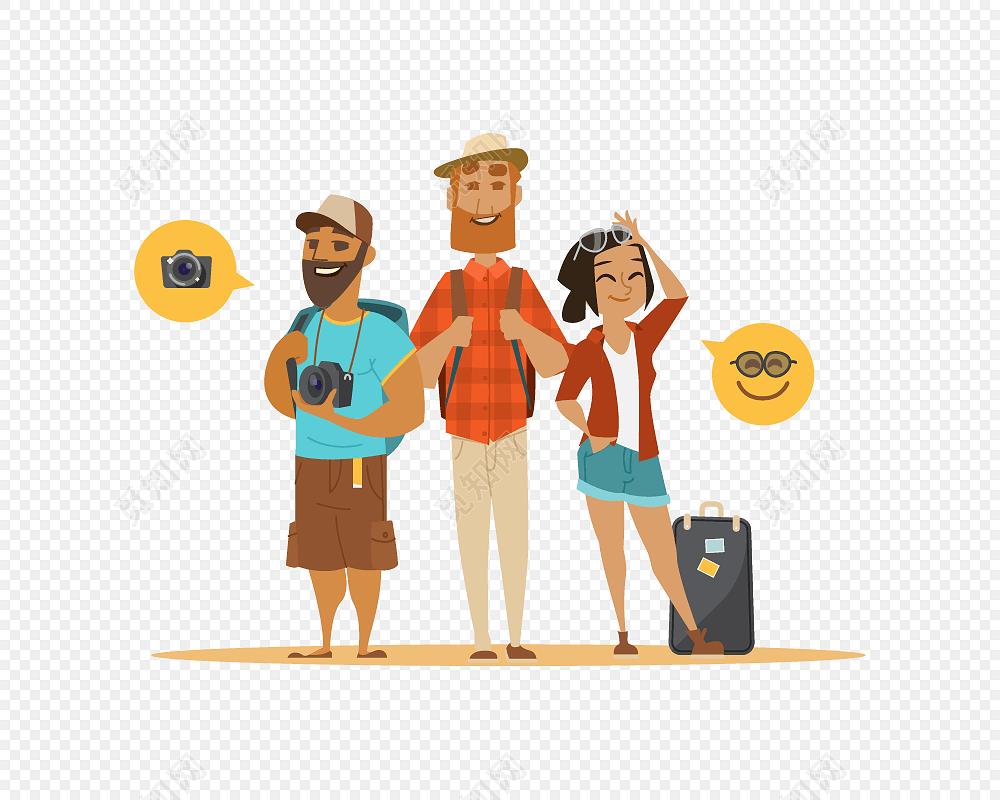 卡通家庭出游旅游素材