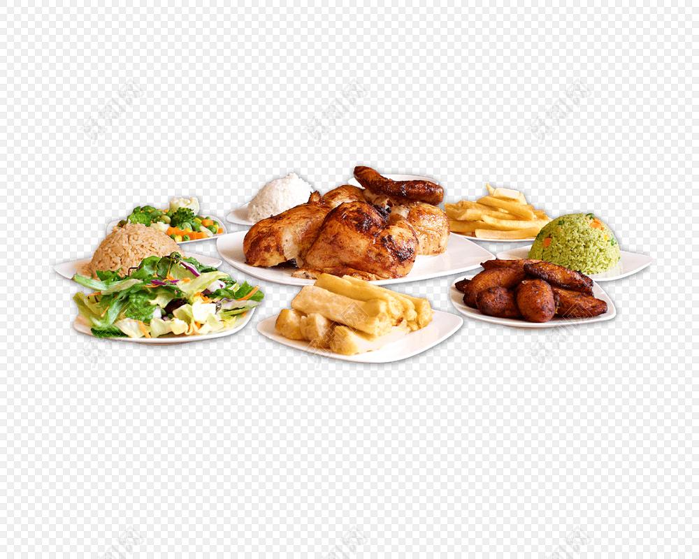 彩色手绘食物美食烤肉烤鸡