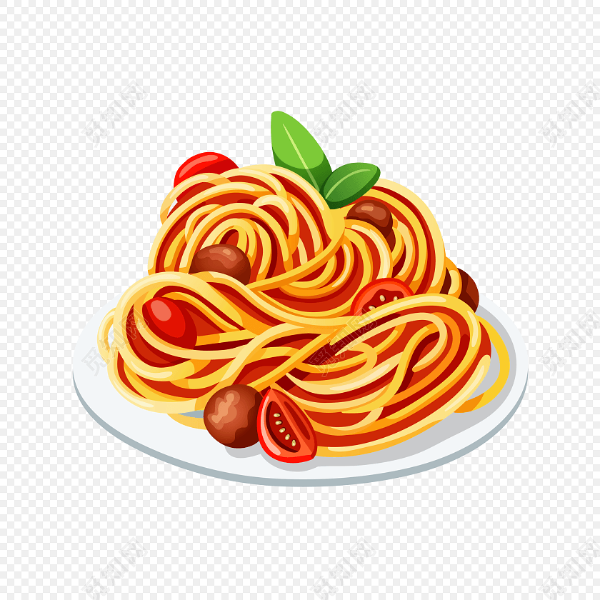 彩色手绘食物美食意大利面面条