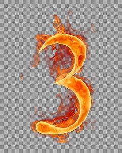 紅色火焰阿拉伯數字3免扣素材