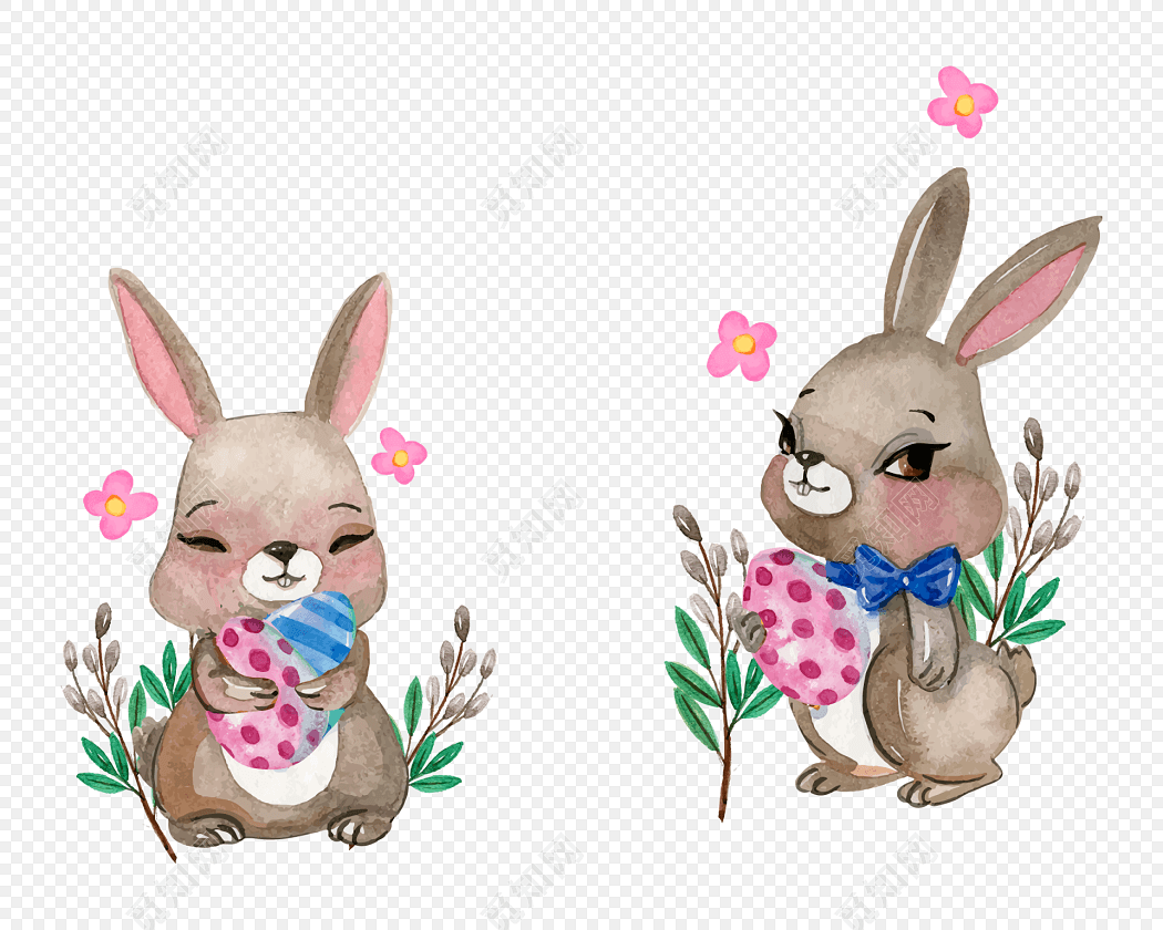 手绘兔子插画素材