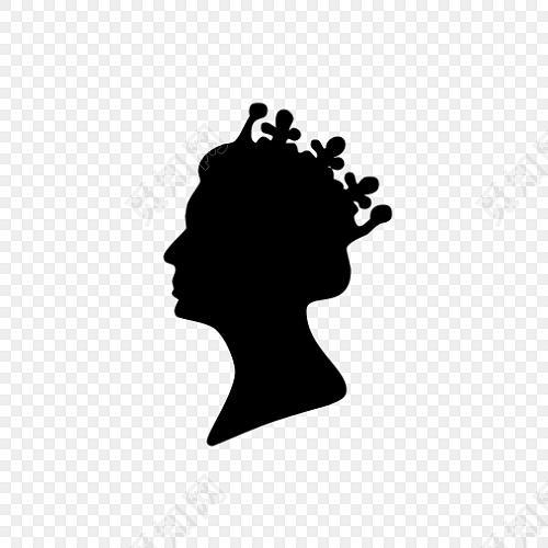 女王侧面头像剪影