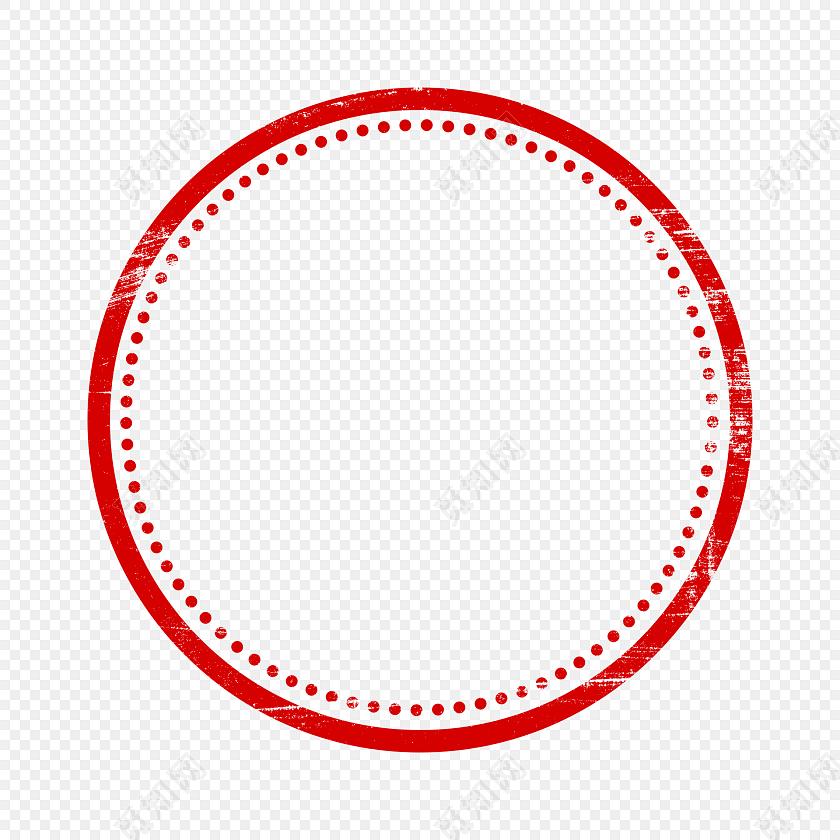 红色圆形印章边框素材
